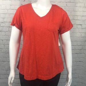 Style & Co Orange Short Sleeve Pocket Tee Size 0X